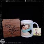 چاپ روی لیوان سرامیکی و جعبه چوبی - طرح روز پدر